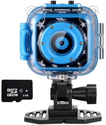 This is an image of kid's Action camera in waterproof with memory card in blue color
