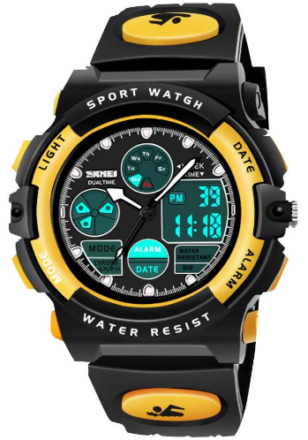 This is an image of boy's waterproof digital sport watch in black and yellow colors