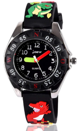 This is an image of kid's waterproof watch with graphic cartoons in black color