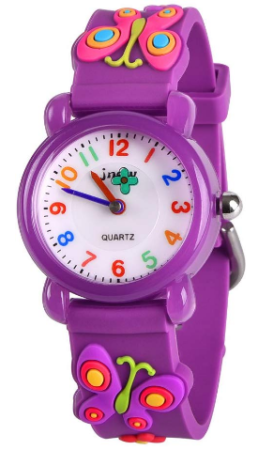This is an image of girl's waterproof watch with butterfly design in purple color