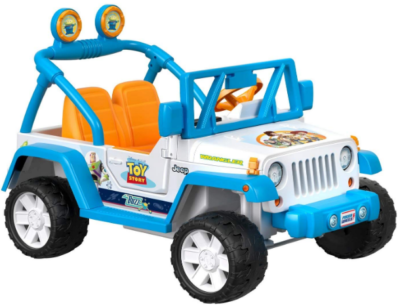 This is an image of girl's Power wheels jeep car in blue color