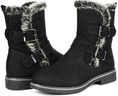 This is an image of girl's winter snow boots in black color