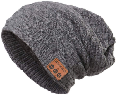 This is an image of boy's swireless bluetooth beanie in gray color