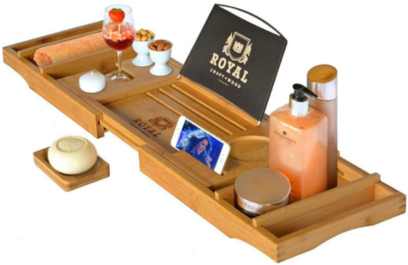 This is an image of mom's wood luxury bathtub caddy tray