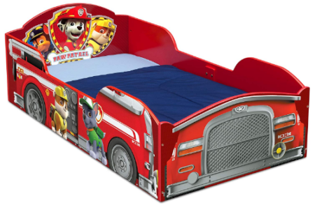 This is an image of toddler's toddler bed with paw patrol graphics in red color