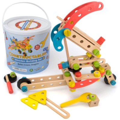 This is an image of kid's wooden building blocks playset thinker toy in colorful colors