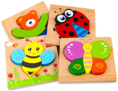 This is an image of boy's wooden animal puzzles in multi colors