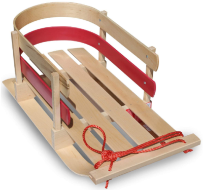 This is an image of kid's wooden snow sled in red and brown color