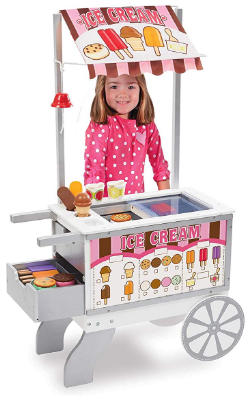 This is an image of girl's wooden snacks food cart