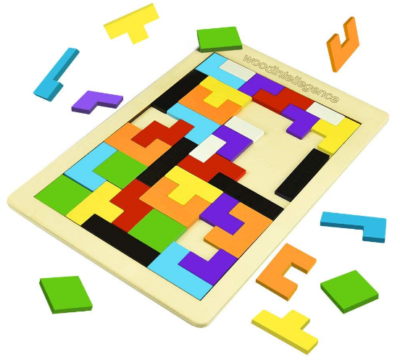 This is an image of boy's wooden tetris puzzle in colorful colors