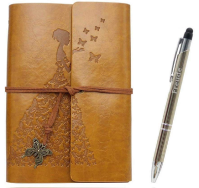 This is an image of girl's writing journal notebook in brown color