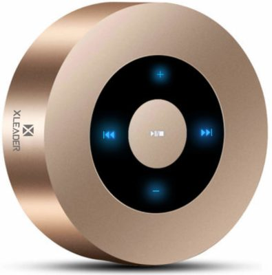 This is an image of a gold bluetooth speaker by XLeader.