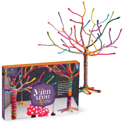 This is an image of girl's yarn tree kit in colorful colors