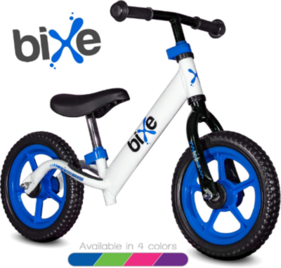 This is an image of toddler's aluminum balance bike in blue and white colors