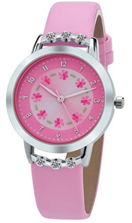 This is an image of girl's analog classic watch in pink color