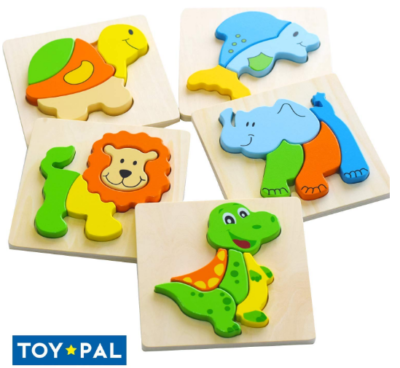 This is an image of boy's wooden animal puzzle in colorful colors