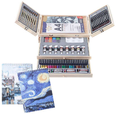 This is an image of girl's art set 85 piece drawing pad