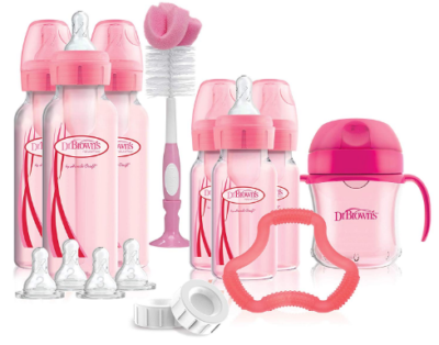 This is an image of baby's bottle set in pink color