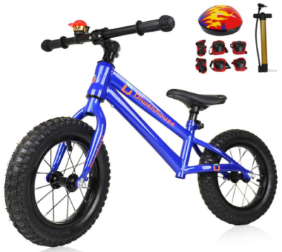 This is an image of toddler's balance bike with inflatable wheels and protections in blue colors