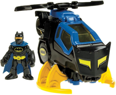 This is an image of boy's batcopter with batman in black and blue colors