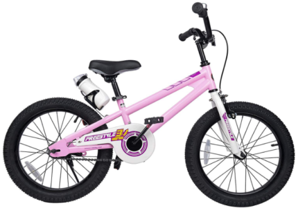 This is an image of girl's bike with 18 inchs wheels in pink color