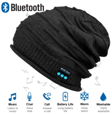 This is an image of boy's bluetooth hat in black color