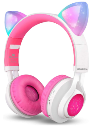 This is an image of girl's bluetooth headphones with ear cat in colorful colors