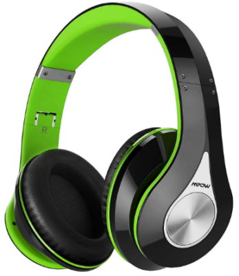 This is an image of boy's bluetooth headphones in black and green colors