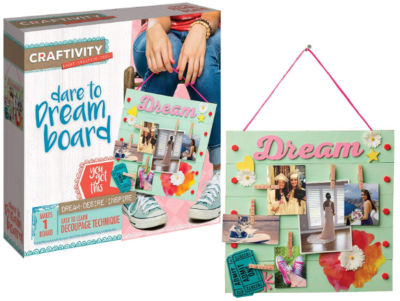 This is an image of girl's board craft kit in blue and pink color