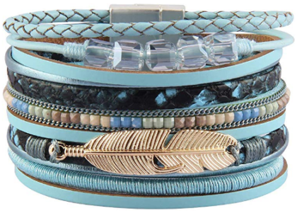 This is an image of girl's bohemian bracelet in blue color