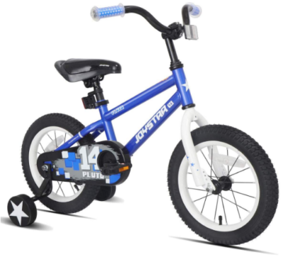 This is an image of kid's bike with training wheels in black and blue colors