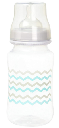 This is an image of baby's bottle in gray color