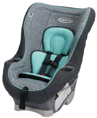 This is an image of infant's car seat in gray and blue color