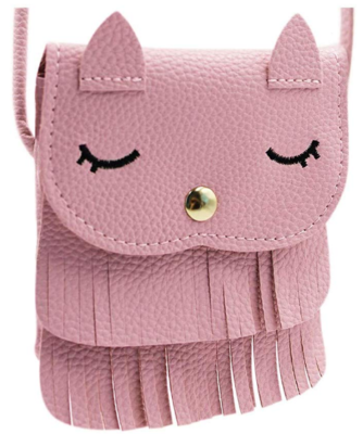 This is an image of girl's cat pursse in pink color