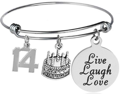 This is an image of girl's charms bangle braclets for 14 year old girls in silver color