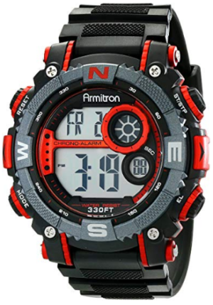 This is an image of boy's sport chronograph watch in black and red colors