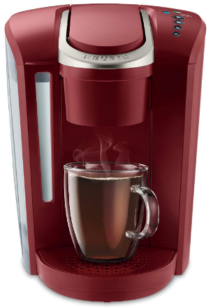 This is an image of mom's coffe maker in vitange design and red color
