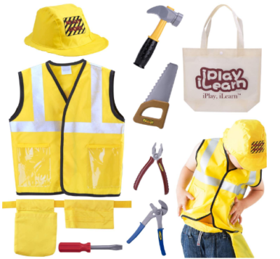 This is an image of boy's Costume construction worker set in yellow color