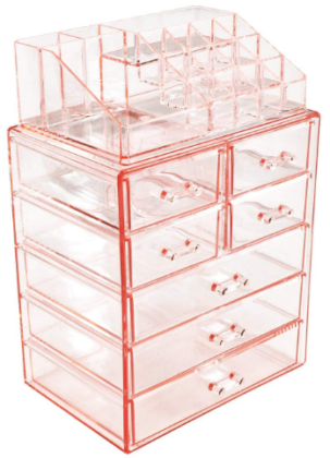 This is an image of girl's makeup and jewelry storage case in pink color
