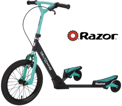 This is an image of boy's delta wing scooter by razor in black and blue colors