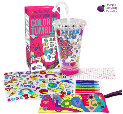 This is an image of girl's DIY design and coloring cup in colorful colors