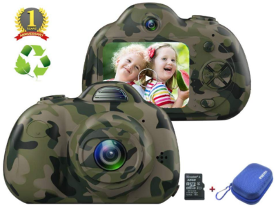 This is an image of kid's digital camera with memory card in camoflage green and black colors