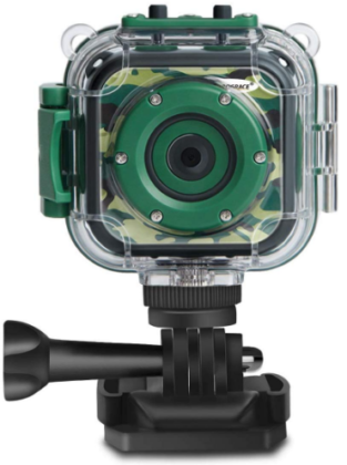 This is an image of kid's digital action camera for videos in camoflage green color