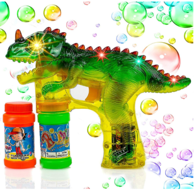 This is an image of boy's dinosaur bubble shooter gun in green color