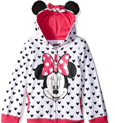 This is an image of girl's minnie mouse hoddie by disney in colorful colors