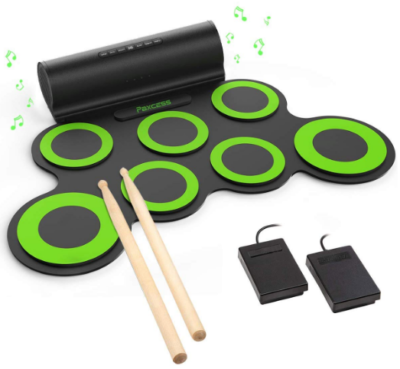 This is an image of boy's electronic drum set in black and green colors