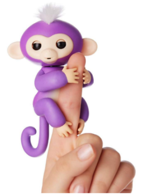 This is an image of girl's fingerlings with baby monkey toy in purple color