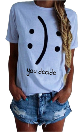 This is an image of girl's funny graphic T-shirt with you decide inside in white color