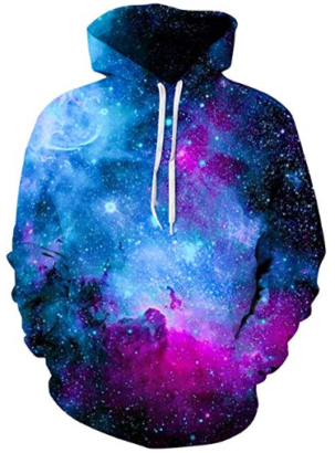 This is an image of boy's galaxy graphic hoodie in colorful colors