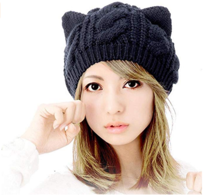 This is an image of girl's hat with kitty ears in black color